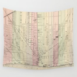 Vintage Map of Detroit Michigan (1886) Wall Tapestry
