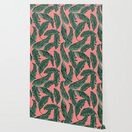 Banana leaves tropical leaves green pink #homedecor Wallpaper