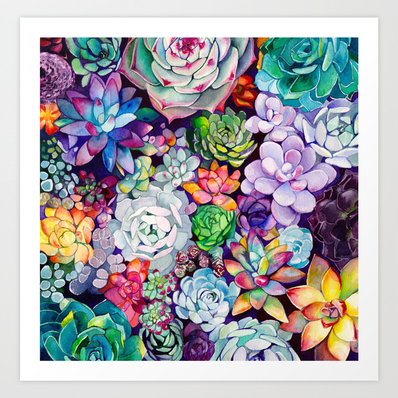 Succulent Garden Art Print By Maiautumndesign Society6