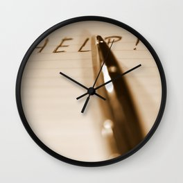 Pen Help Sepia Wall Clock