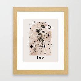 Leo Constellation and Birth Flower Neutral Framed Art Print