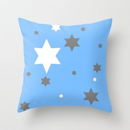 SIMPLY GREY & WHITE STARS ON BABY BLUE DESIGN Throw Pillow
