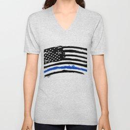 Thin blue line US flag. Flag with Police Blue Line - Distressed american flag.  Unisex V-Neck