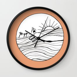 Female Surfer Riding the Waves with a coral background Wall Clock