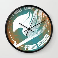 fairy tail Wall Clocks featuring Fairy Tail by KisaSunrise