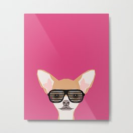 Misha with Glasses - Aviator glasses, hipster glasses, chihuahua, dog, cute, pet, cute dog Metal Print