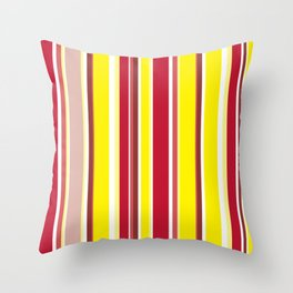 Burgundy Red and Yellow Fashionable Stripes Throw Pillow