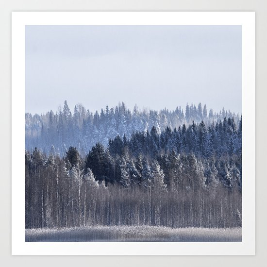 Blue shades in cold winter morning Art Print