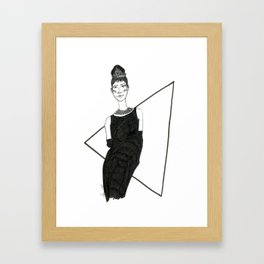 Girl in a black dress Framed Art Print