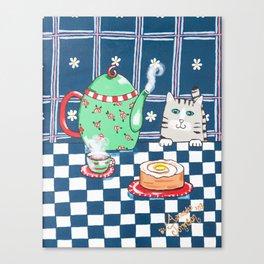 Kitty Cat Tea Time! Canvas Print