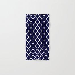 White Moroccan Quatrefoil On Navy Blue Hand & Bath Towel