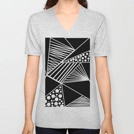 Black white geometric trendy artistic stripes polka dots Unisex V-Neck