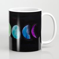 moon phases Mugs featuring phases by Stella Joy