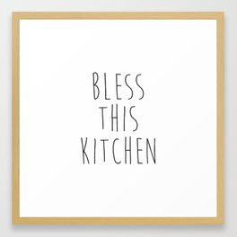 Bless This Kitchen Sign Printable, Kitchen Wall Decor, Kitchen Quote, Black and White, Bless Our Kit Framed Art Print