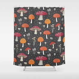 Funghi - Gray Shower Curtain
