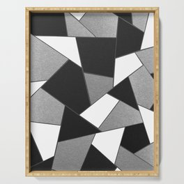 Silver Gray Black White Geometric Glam #1 #geo #decor #art #society6 Serving Tray