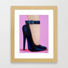 Pink Lady With Stiletto Heels Framed Art Print