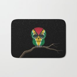 Baby Owl with Glasses and Guyanese Flag Bath Mat