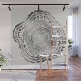 Growth Rings – 65 Years – Silver Wall Mural