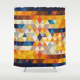 Geometric Triangle - Ethnic Inspired Pattern - Orange, Blue Shower Curtain