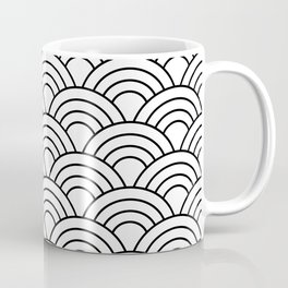 Wave Pattern in Black and White Coffee Mug