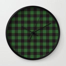 Buffalo Plaid Rustic Lumberjack Green And Black Check Pattern Wall Clock