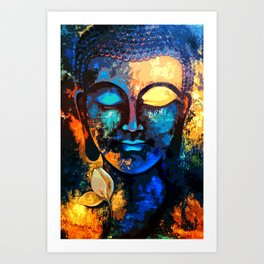 Abstract Lord Buddh Art Print