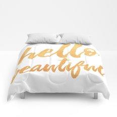 Hello Beautiful - Gold Typography Comforters