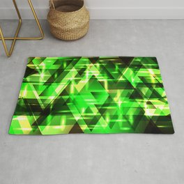 Spring gentle green horizontal strict stripes of sparkling grass triangles. Rug