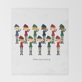 Eleven Pipers Piping Throw Blanket