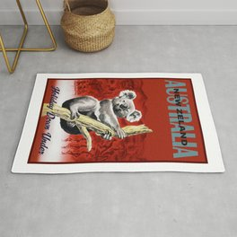1950 Holiday Down Under Australia New Zealand Travel Poster Rug
