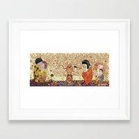 klimt Framed Art Prints featuring Kokeshis Klimt by Pendientera
