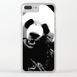 Cute Giant Panda Bear with tasty Bamboo Leaves Clear iPhone Case