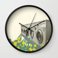 waterfall Wall Clocks featuring Waterfall by Cassia Beck
