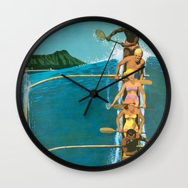 Hawaii, Diamond Head Oʻahu Outrigger United Airlines Vintage Travel Poster Wall Clock