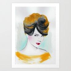 yellow lady Art Print
