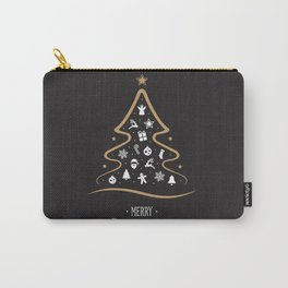 Vintage Black and Gold Christmas Tree Design. Carry-All Pouch