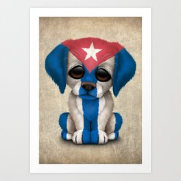 Cute Puppy Dog with flag of Cuba Art Print
