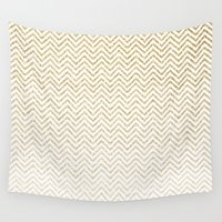 gold glitter Wall Tapestries featuring Gold Glitter Ombre Chevrons by Doucette Designs