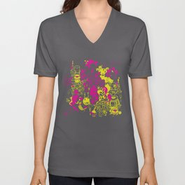 Dream Factory Pink and Yellow Unisex V-Neck