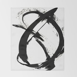 Brushstroke 7: a minimal, abstract, black and white piece Throw Blanket
