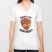 "always sunny V-neck T-shirts featuring It's Always Sunny  ""Rum Ham"" by Lindsay Schoen"
