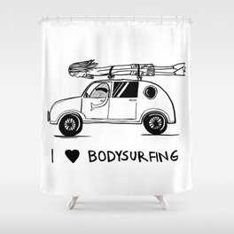 I HEART BODYSURFING Shower Curtain