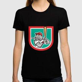 Catfish Baseball Hitter Batting Cartoon Shield T-shirt