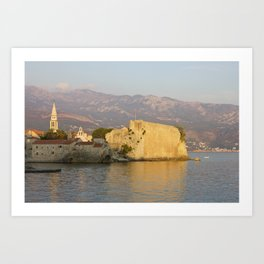 Sunset Over Old Town Budva In Montenegro Art Print