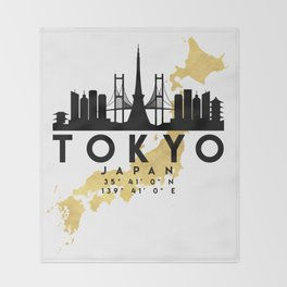 TOKYO JAPAN SILHOUETTE SKYLINE MAP ART Throw Blanket