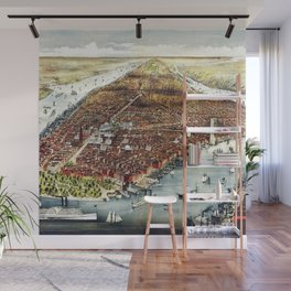Vintage 19th Century Lithograph of New York City - Manhattan Wall Art Wall Mural
