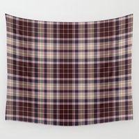 burgundy Wall Tapestries featuring Burgundy Plaid by Bahrsteads