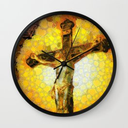 Jesus on the cross in the Impressionist style Wall Clock