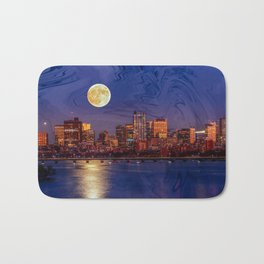 Moon light night, Boston MA Bath Mat